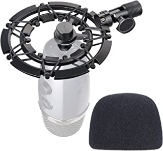 Blue Yeti Nano Shock Mount with Pop Filter, Alloy Shockmount with Foam Windscreen Reduces Vibration and Shock Noise Matchi...