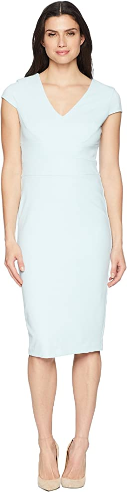Crepe Sheath Dress with Cap Sleeve