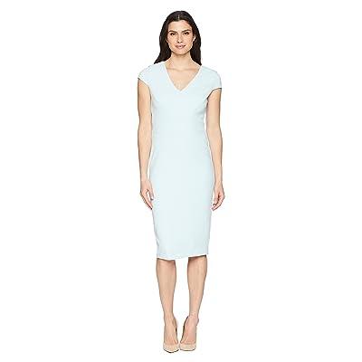 Donna Morgan Crepe Sheath Dress with Cap Sleeve (Clear Sky) Women