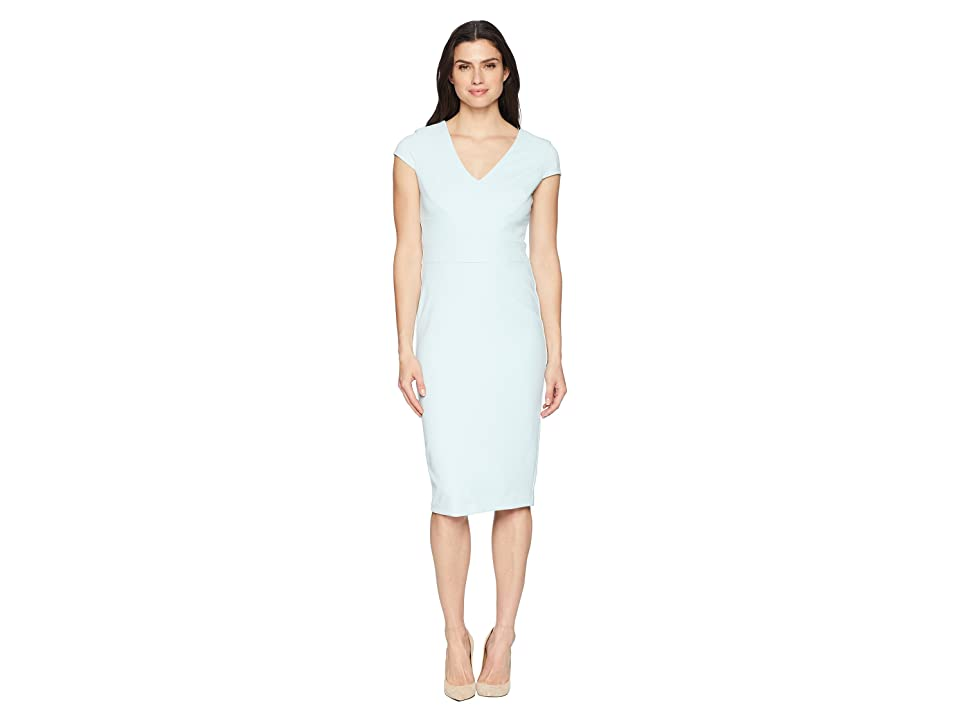 Donna Morgan Crepe Sheath Dress with Cap Sleeve (Clear Sky) Women