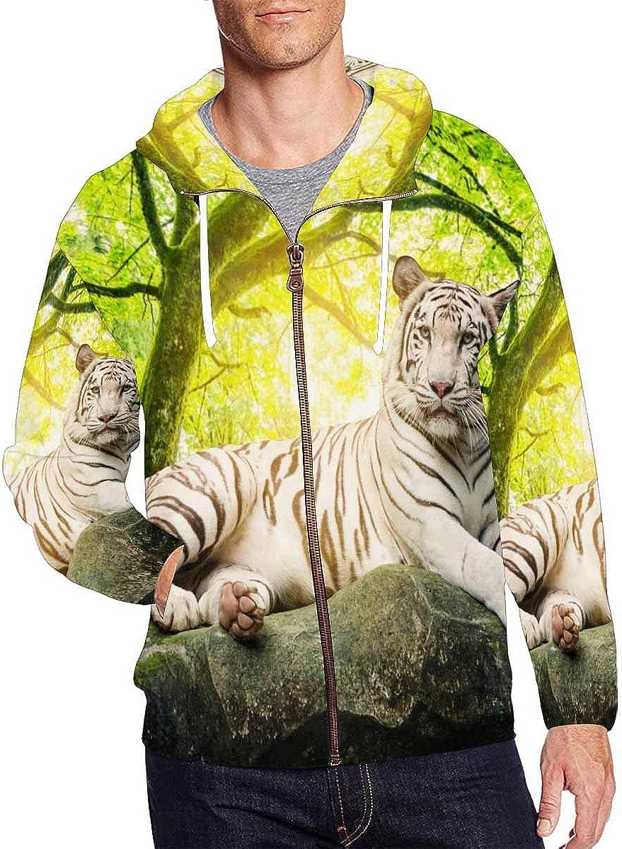 InterestPrint Men's Max 86% OFF Full Zip Hooded National uniform free shipping Sweatshirt White Pullover Ti