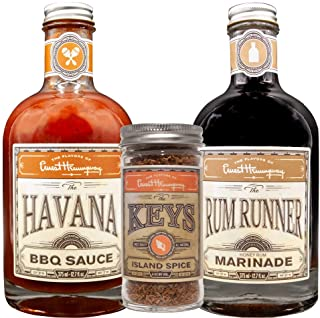 The Flavors of Ernest Hemingway Sampler Bundle, The Havana BBQ Sauce, The Rum Runner Marinade, The Keys Island Spice Rub