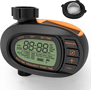 TACKLIFE Digital Water Timer, Solar Panels, Irrigation Sprinkler Controller, Precise Control of Water Volume, LCD Display Screen, Single-Valve, Super Easy to Set up and Program - HXGWT2A