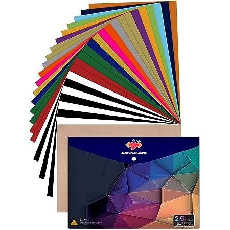 HTV Heat Transfer Vinyl Bundle 50 Pack 12x10 Assorted Colors Iron on Vinyl for T-Shirt Including 48 Heat Transfer Vinyl and 2 Teflon Sheet for Cricut Silhouette Cameo