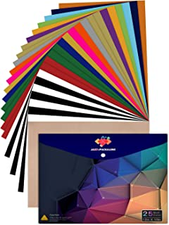 "JANDJPACKAGING Heat Transfer Vinyl HTV Bundle 10""x12"" – 25 Pack Assorted.."