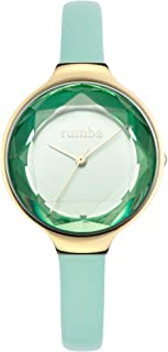 RumbaTime Women's 'Orchard Gem Leather' Quartz Stainless Steel Casual Watch, Color:Green (Model: 28072)