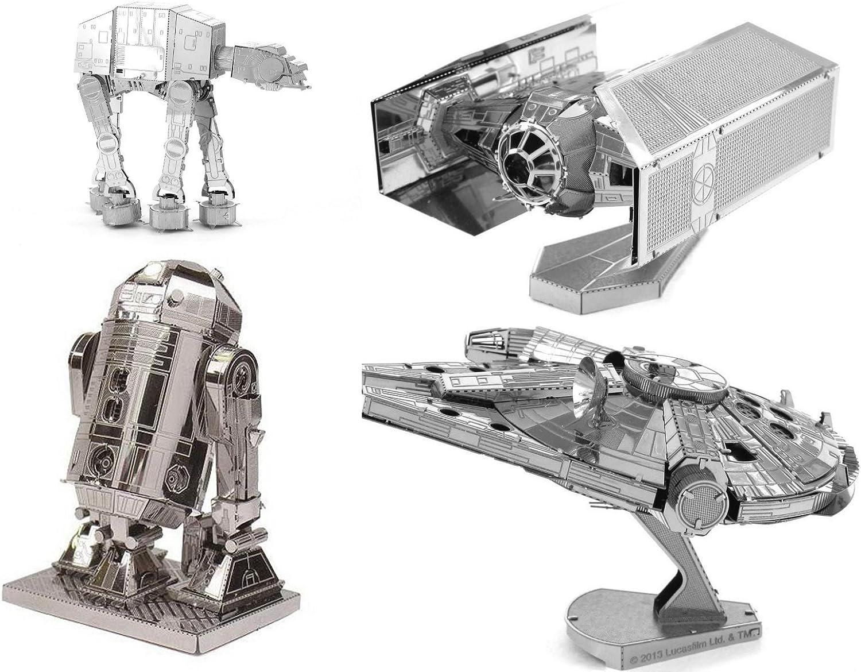 Metal Earth 3D Model Kits - Star Wars Set of 4 - Darth Vader's TIE Fighter, R2-D2, AT-AT, Millenium Falcon