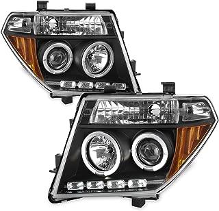 For 05-08 Frontier / 05-07 Pathfinder Black Bezel Dual Halo Ring Projector LED Headlights Driver Passenger Set