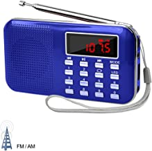 LEFON Mini Digital AM FM Radio Media Speaker MP3 Music Player Support TF Card/USB Disk with LED Screen Display and Emergency Flashlight Function (Blue-Upgraded)