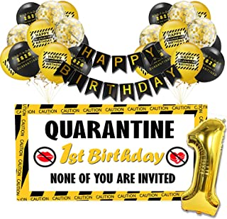 Quarantine Birthday Decorations, 2020 Birthday Quarantine Backdrop with Yellow and Black Balloon for 1st Birthday Kids Adult Happy Birthday (39.37×47.24inch, Yellow)
