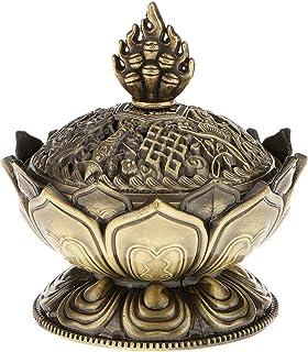 DierCosy Lotus Incense Smoke Cone Aroma Burner Holder Stove Backflow Censer Decor - Bronze