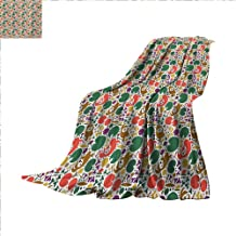 Lotus Digital Printing Blanket Far East Asia Symbols with Carp Koi Water Lilies and Dragonfly on Dotted Backdrop Summer Quilt Comforter 62 x 60 inch Multicolor