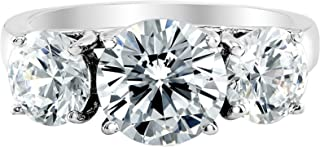 3 Three Stone GIA Certified Round Diamond Engagement Ring 14K White Gold (D-E Color VS1-VS2 Luxury Collection)