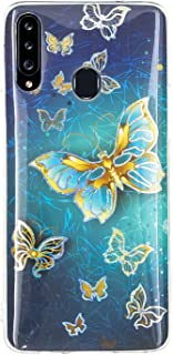 EnjoyCase Silicone Case for Samsung Galaxy A20S,Colorful Personalized Glossy Plating Butterfly Design Clear Frame Shockpro...