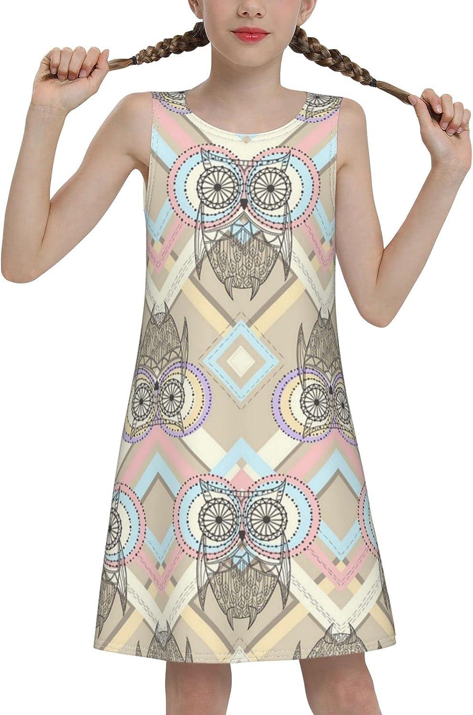Cute Owl Pattern Sleeveless Dress for Girls Casual Printed A-Line Jumper Skirt