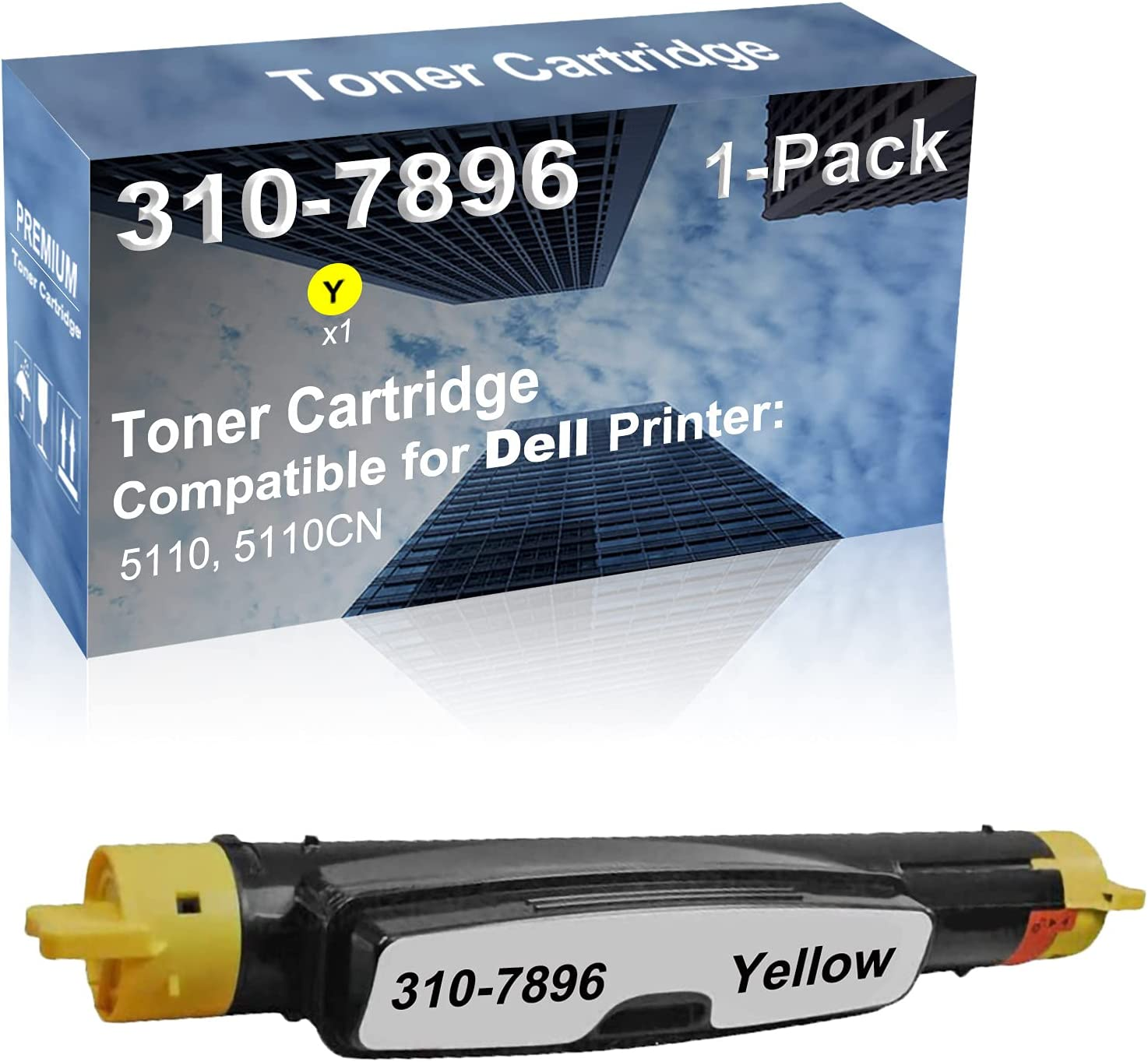1-Pack (Yellow) Compatible 5110, 5110CN Printer Toner Cartridge High Capacity Replacement for Dell 310-7896 Toner Cartridge