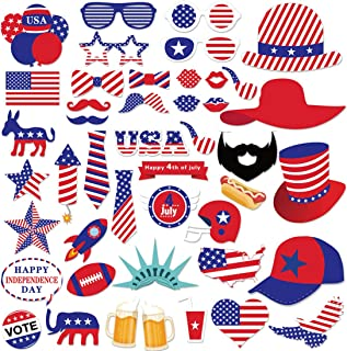 44 PCS 4th of July Patriotic Photo Booth Props for American Independence Day Veteran's Day Party Supplies Favors Decorations DIY Kit for Kids