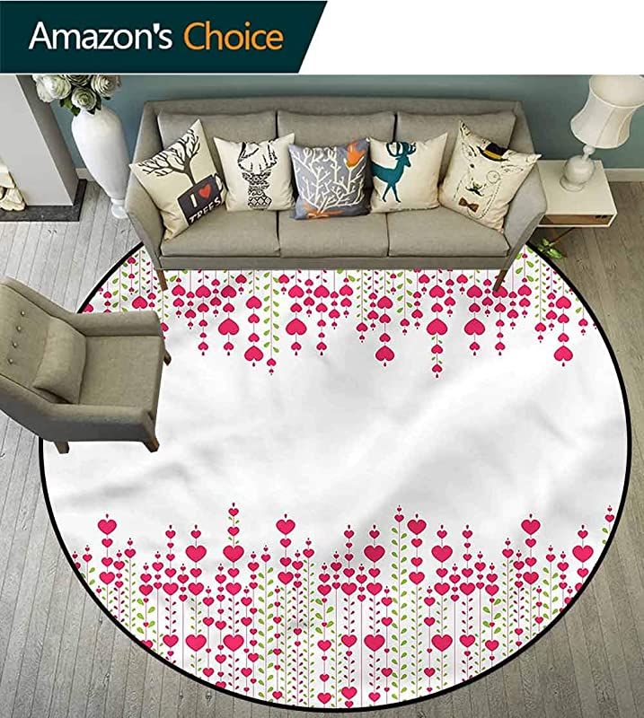 RUGSMAT Love Non Slip Area Rug Pad Round Heart Leaves Flowers Super Soft Living Room Bedroom Carpet Woman Yoga Mat Diameter 71