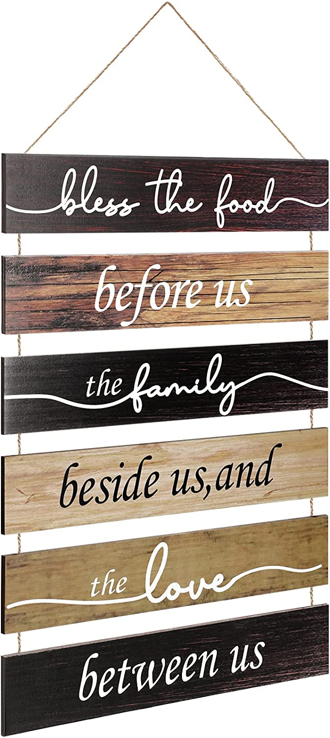 Bless The Food Before Us Wood Wall Sign Large Rustic Hanging Wall Decoration Vintage Farmhouse Wall Decor Hanging Wood Sign for Home Kitchen Living Room Dining Room Decor (Natural Color)