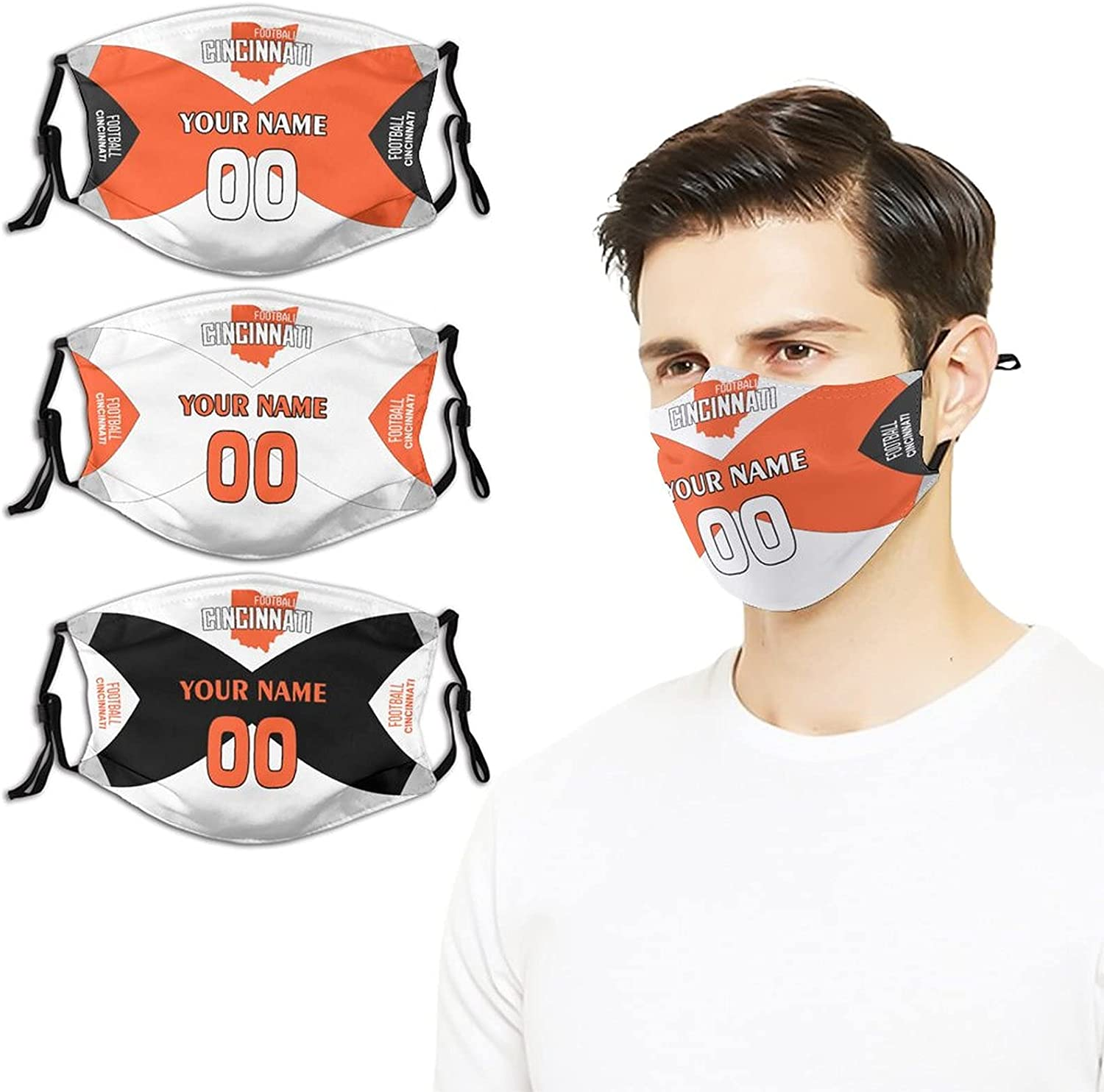 Custom Sale item 3PCS Football Mouth Cover Max 72% OFF Earloop Adjustable Ma with Face