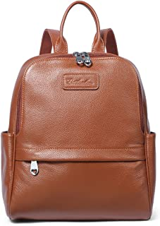 BOSTANTEN Women Leather Backpack Purse Satchel Shoulder School Bags for College Coffee Medium