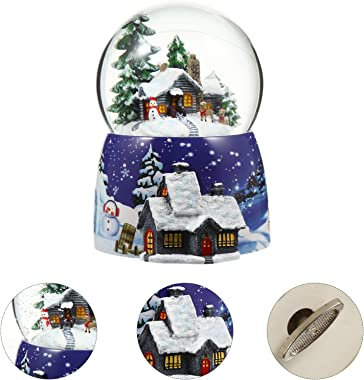 IMIKEYA Christmas Snow Globe Music Box Santa Snowman Crystal Ball Water Lantern Table Centerpiece for Holiday Birthday Party