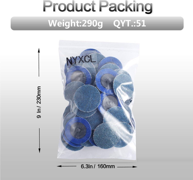 NYXCL superficie condizionata per levigatura superficiale Set di 50 dischi abrasivi Roloc P36 con supporto da 1//4 finitura lucida sbavatura rimozione della vernice
