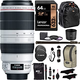 "Canon EF 100-400mm f/4.5-5.6L is II USM Lens + Lexar 64GB U3 Memory Card + VidPro USB Reader/Writer + 62"" Monopod + 77mm 3 Piece Filter Set Kit + Polaroid Accessory Bundle"