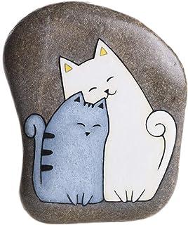 2 Gatti, Sasso Dipinto a Mano, Gatto Grigio, Gatto Bianco, Gatti Dipinti
