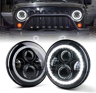 "Xprite 7"" Inch LED Halo Headlights for Jeep Wrangler JK TJ LJ 1997 – 2018(DOT.."