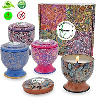 Amzwax Citronella Candles Outdoor and Indoor, 4oz Scented Candles Pure Soy Wax Portable Travel Tin Candle for Stress Relief, 4-Pack Gift Set …