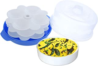 Kuber Industries Plastic Big Idli, Dhokla Maker Combo Set for Microwave with 3 Idli Moulds and 1 Dhokla Pan (Blue) - CTLTC44401