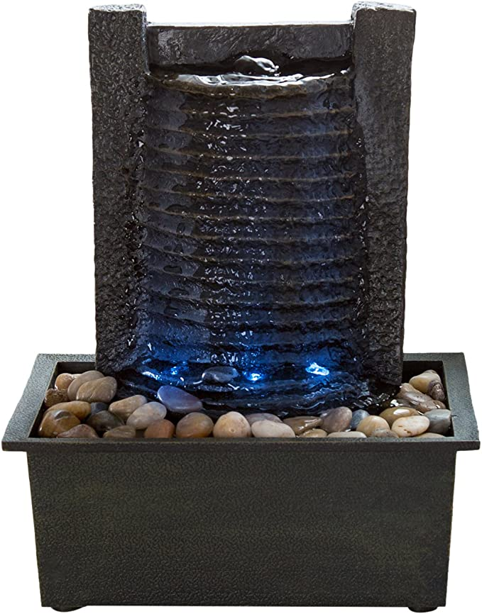 Amazon Com Indoor Water Fountain With Led Lights Lighted Waterfall Tabletop Fountain With Stone Wall And Soothing Sound For Office And Home Décor By Pure Garden Home Kitchen