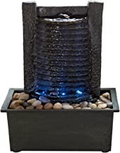 Indoor Water Fountain With LED Lights- Lighted Waterfall Tabletop Fountain With Stone..