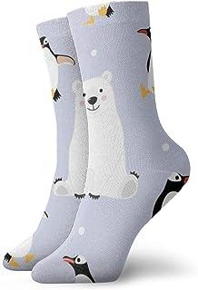 wwoman, Calcetines de vestir estampados para hombre y mujer Oso y pingüino Calcetines divertidos coloridos de la novedad divertida 30 cm