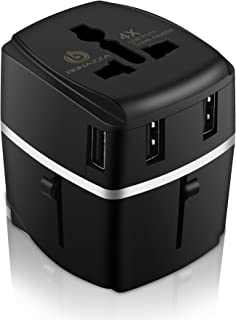 Universal International Travel Adapter Kit with 4Amps 4 USB Ports - UK, US, AU, Europe All in One Plug Adapter - Over 150 Countries & USB Power Adapter for iPhone, Android, All USB Devices (Black 4USB)