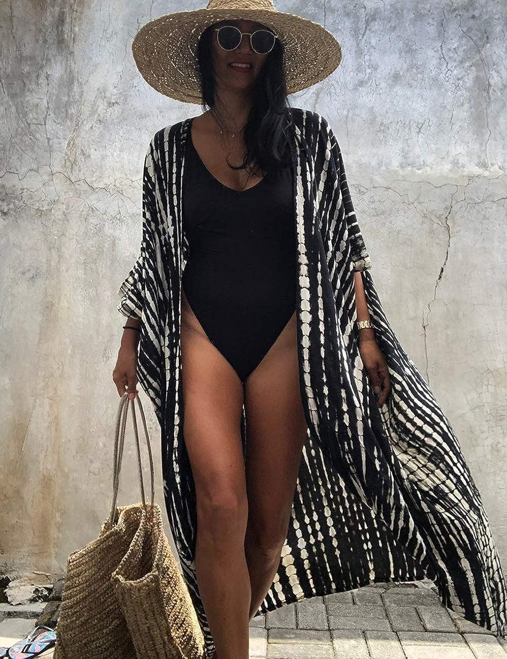 Bsubseach Women's Sexy Fashion Loose Bikini Swimwear Cover Up Long Kimono Cardigan
