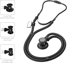 MDF Sprague Rappaport Dual Head Stethoscope with Adult, Pediatric, and Infant convertible chestpiece - Free-Parts-for-Life & - All Black (MDF767-BO)