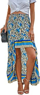 UUYUK Womens Boho Floral Print Irregular Hem Flare Beach Maxi Skirt