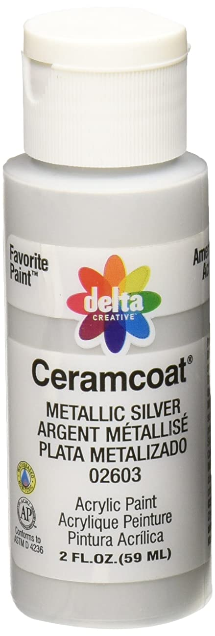Delta Creative Ceramcoat Metallic and Pearl Acrylic Paint in Assorted Colors (2 oz), 2603, Metallic Silver
