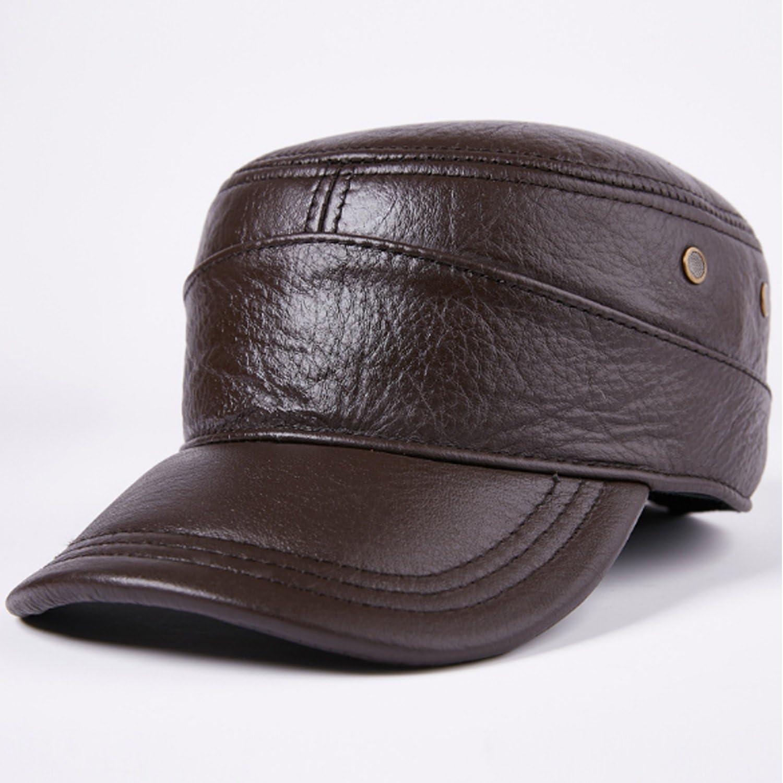 b996a21c Men's Hat Leather Cap Leather Flat Cap Cap Cap Cap Fall Warm Keeping Ear  Predection Male casual 54c8cc