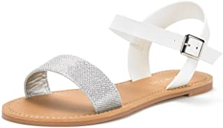 DREAM PAIRS Women's HOBOO-New Cute Open Toes One Band Ankle Strap Flexible Summer Flat Sandals
