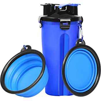 Dog Water Bottle Dog Bowls for Traveling Pet Food Container 2-in-1 with Collapsible Dog Bowls, Outdoor Dog Water Bowls for Walking Hiking Travelling … (Blue)