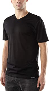 Woolly Clothing Men's Merino Wool V-Neck Tee Shirt - Everyday Weight - Wicking Breathable Anti-Odor