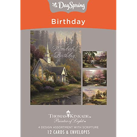 Amazon.com : DaySpring Birthday - Inspirational Boxed Cards - Thomas Kinkade  - 70107 : Office Products