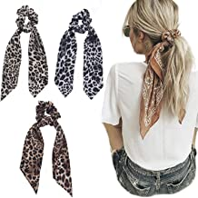 Beauty Wig World 3Pcs Leopard Print Scarf Scrunchie Silk Satin Hair Scarves Elastic Hair Bands Bohemian Style Ponytail Holder Ties Vintage Hair Accessories for Women Girls (Style 1)
