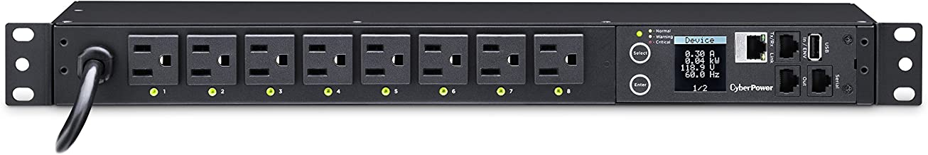 CyberPower PDU41001 Switched PDU, 120V/15A, 8 Outlets, 1U Rackmount