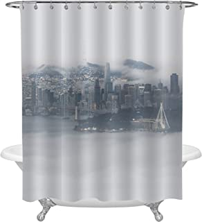 San Francisco Surrounded by Fog Skyline Shower Curtain, Aerial View from Across the Bay Cityscape Photograph Print Art Decor for Modern Home, Water Resistant Washable Cloth Bathroom Accessories, 72x78