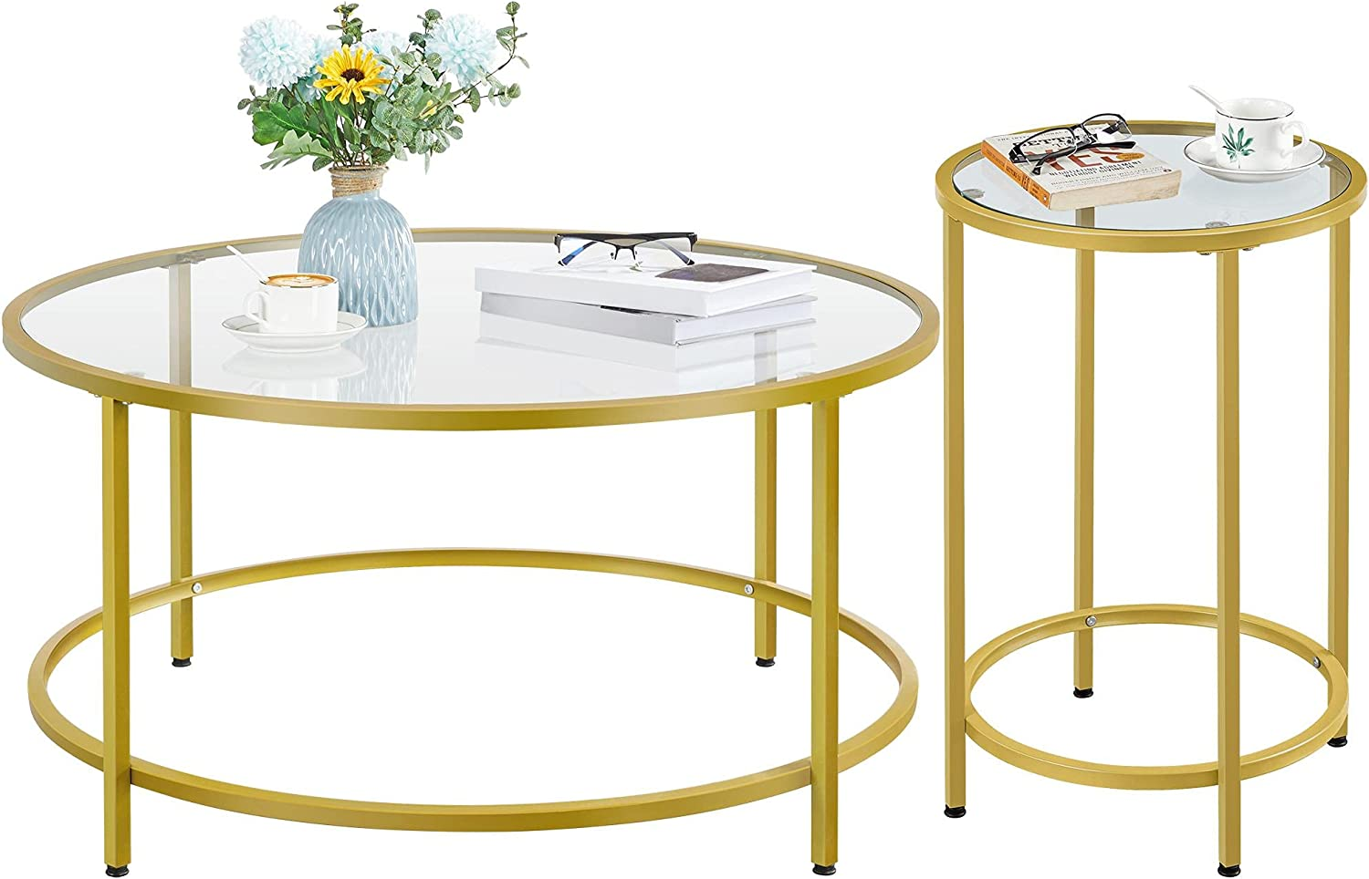 YAHEETECH Set Oakland Mall of 2 Round Coffee Moder low-pricing Accent Table End w