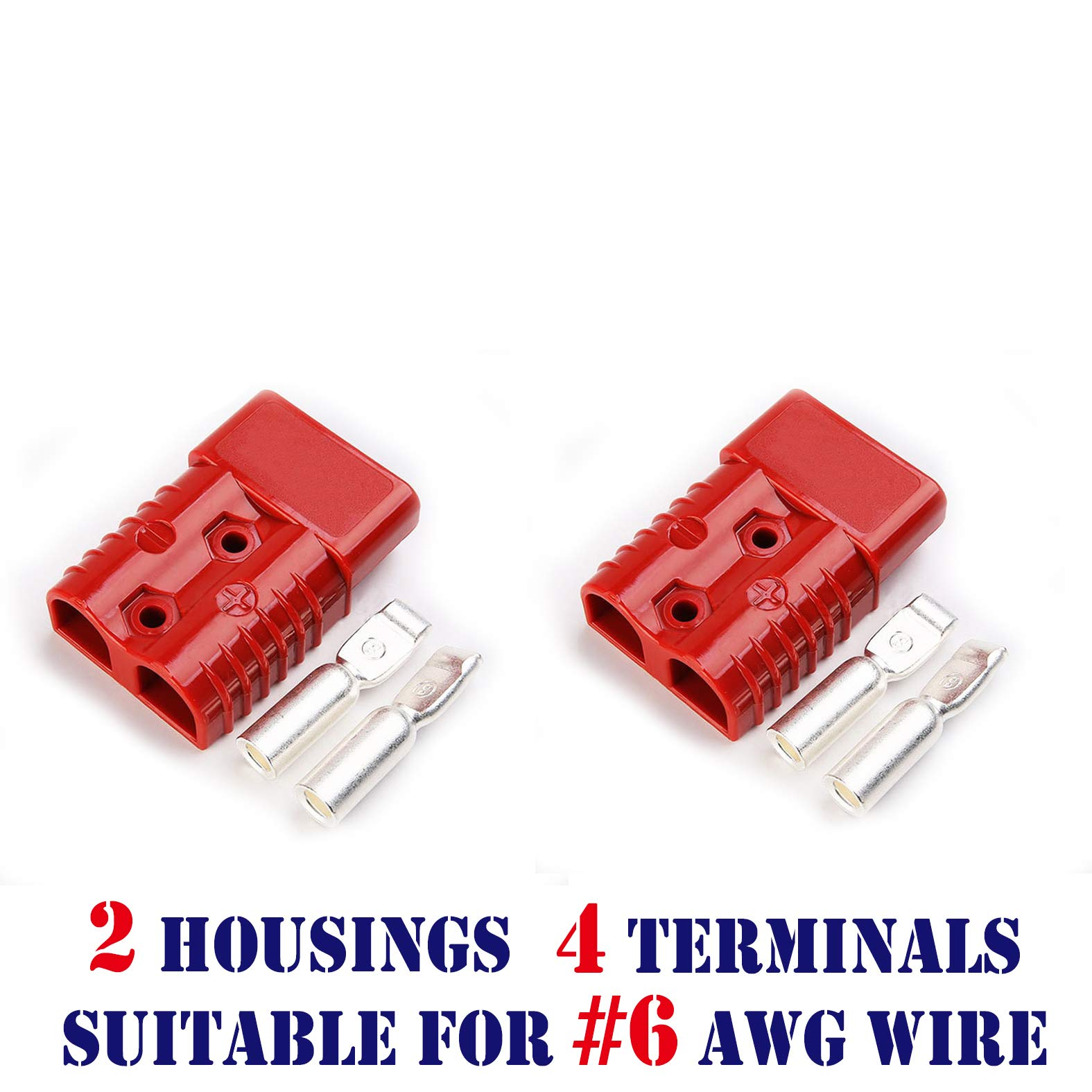 2Pairs Power//Ground Input Wire Gauge Reducer 1//0 to 4 Gauge with AWG 1//0-3//8inch Battery Terminal Connectors and heat shrink tube